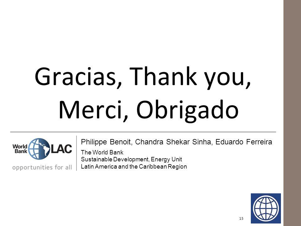 Gracias, Thank you, Merci, Obrigado 15 Philippe Benoit, Chandra Shekar Sinha, Eduardo Ferreira The World Bank Sustainable Development, Energy Unit Lat