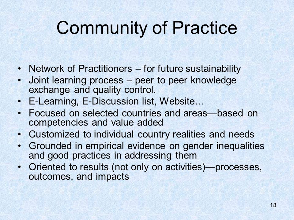 18 Community of Practice Network of Practitioners – for future sustainability Joint learning process – peer to peer knowledge exchange and quality control.