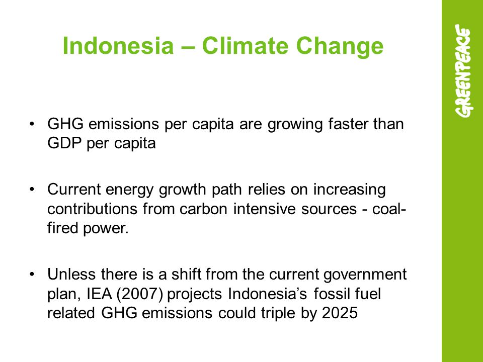 Indonesia – Climate Change GHG emissions per capita are growing faster than GDP per capita Current energy growth path relies on increasing contributio