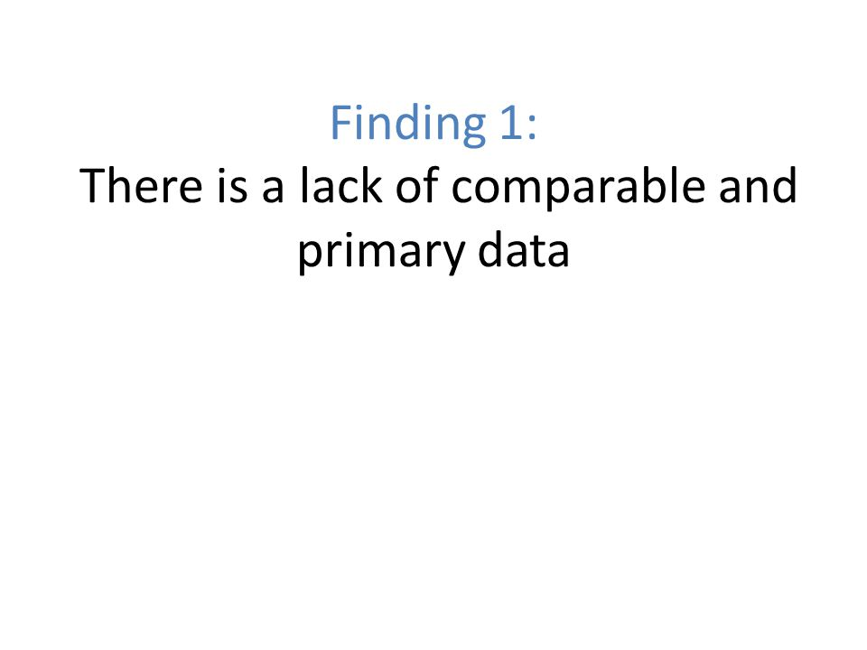 Finding 1: There is a lack of comparable and primary data