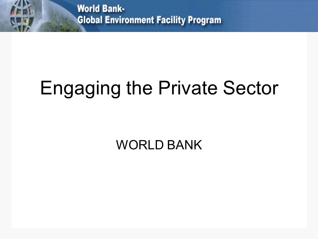 Engaging the Private Sector WORLD BANK