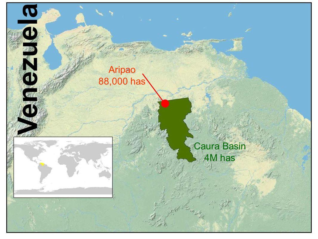 Caura Basin 4M has Aripao 88,000 has Venezuela