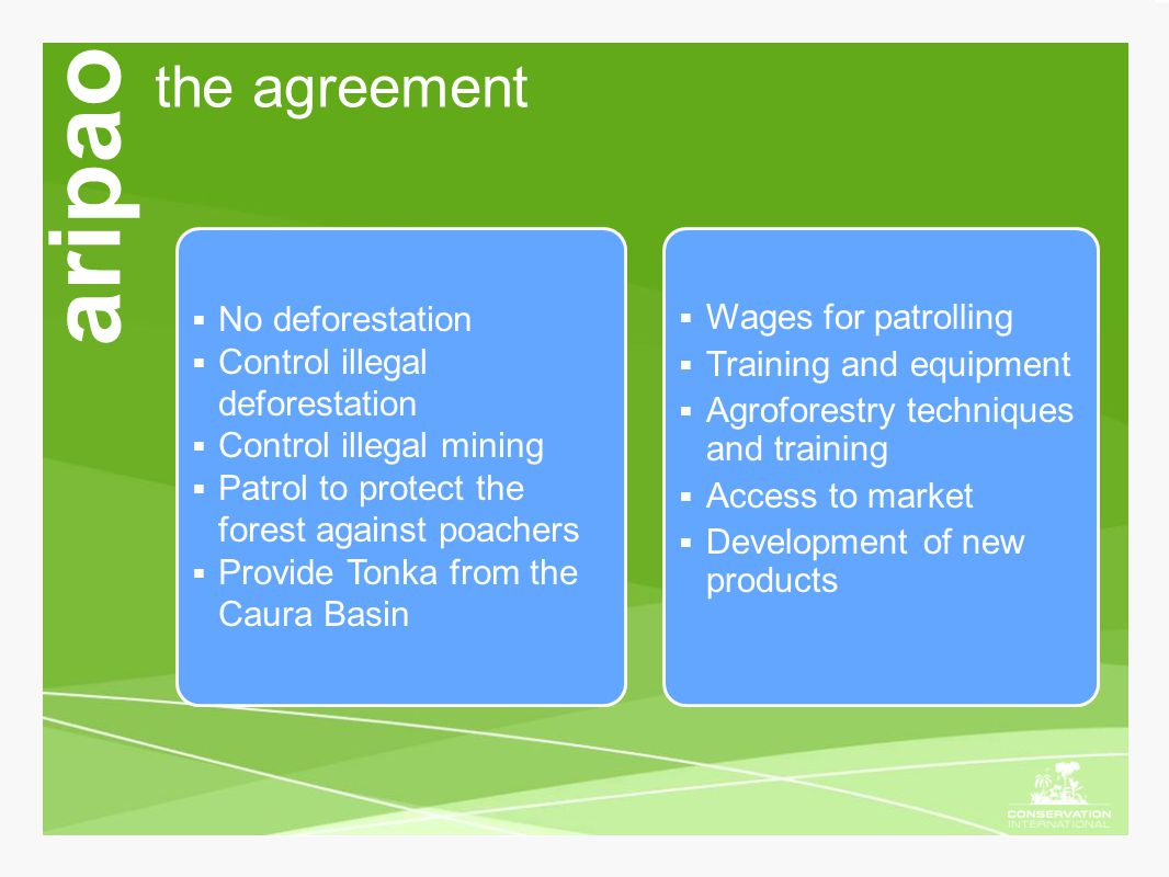 the agreement aripao  Wages for patrolling  Training and equipment  Agroforestry techniques and training  Access to market  Development of new pr