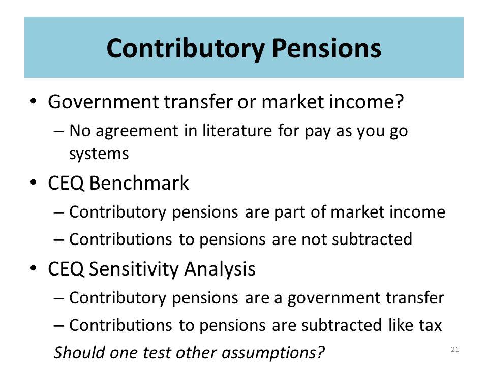 Government transfer or market income.