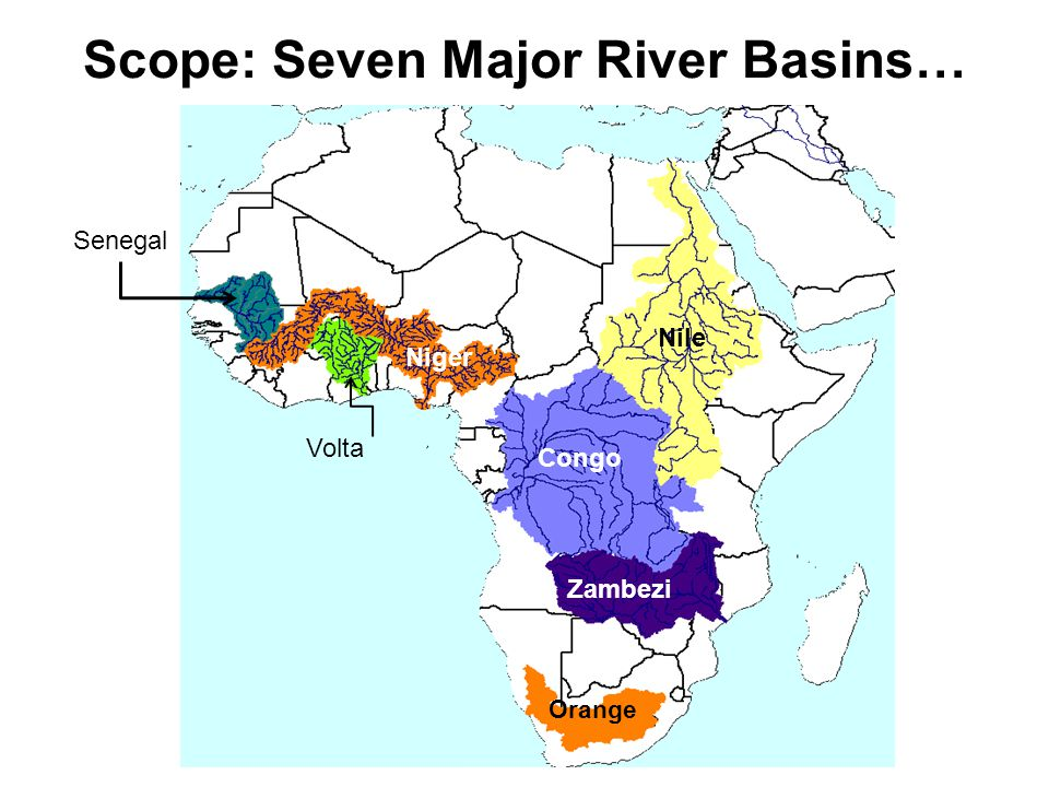 Scope: Seven Major River Basins… Nile Congo Zambezi Niger Orange Volta Senegal