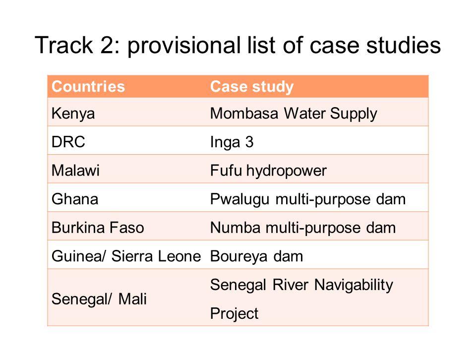 Track 2: provisional list of case studies CountriesCase study KenyaMombasa Water Supply DRCInga 3 MalawiFufu hydropower GhanaPwalugu multi-purpose dam Burkina FasoNumba multi-purpose dam Guinea/ Sierra LeoneBoureya dam Senegal/ Mali Senegal River Navigability Project
