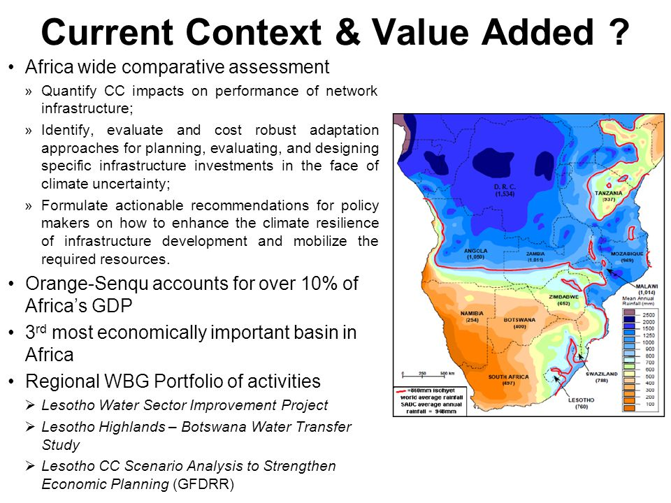 Starting points: Africa Infrastructure Country Diagnostic (AICD)… Comprehensive overview of current infrastructure status, policy, institutional and financial challenges Concludes that Africa needs to spend US$93bn pa to catch-up on infrastructure with rest of developing world Estimates made under a no climate change presumption