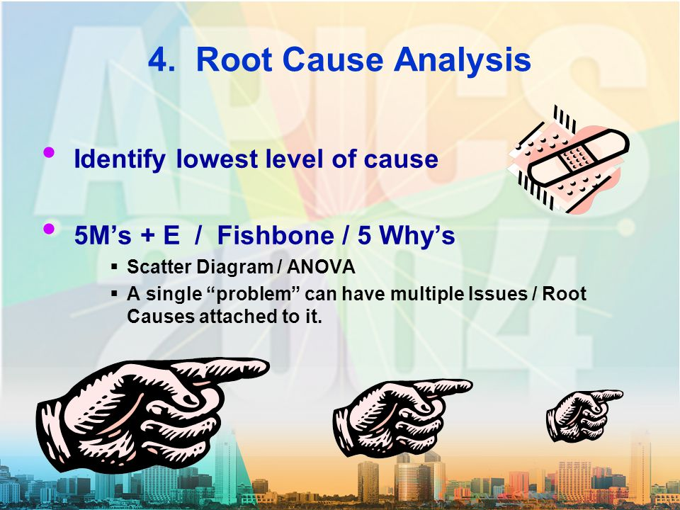 "4. Root Cause Analysis Identify lowest level of cause 5M's + E / Fishbone / 5 Why's  Scatter Diagram / ANOVA  A single ""problem"" can have multiple I"