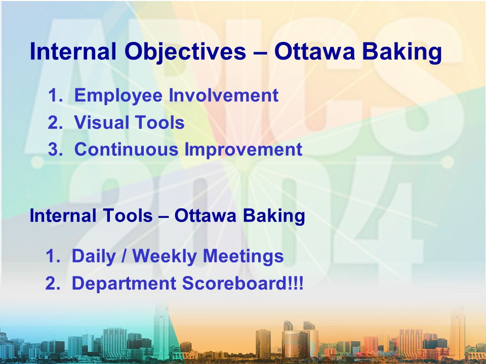 Internal Objectives – Ottawa Baking 1. Employee Involvement 2. Visual Tools 3. Continuous Improvement Internal Tools – Ottawa Baking 1. Daily / Weekly