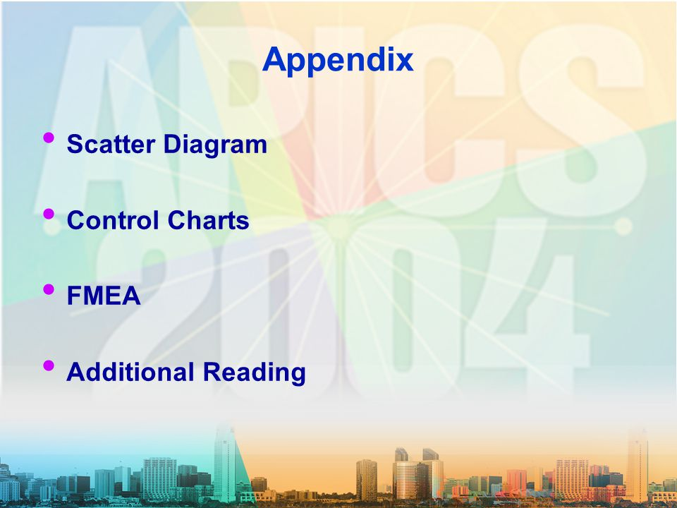 Appendix Scatter Diagram Control Charts FMEA Additional Reading