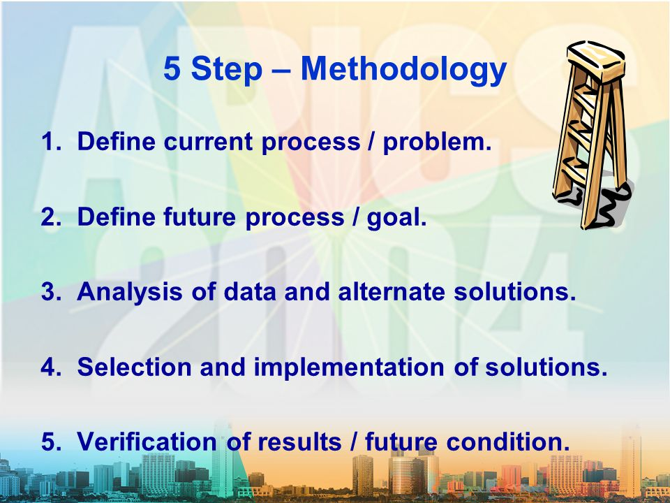 Team Review Problem Description Goal Team & Input Current Process Current Condition Root Cause Analysis Counter Measures Future Condition Standardization Verification Documentation Results