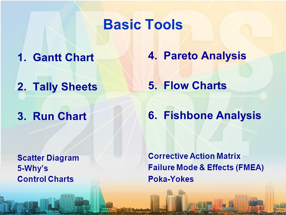Basic Tools 1. Gantt Chart 2. Tally Sheets 3. Run Chart Scatter Diagram 5-Why's Control Charts 4.