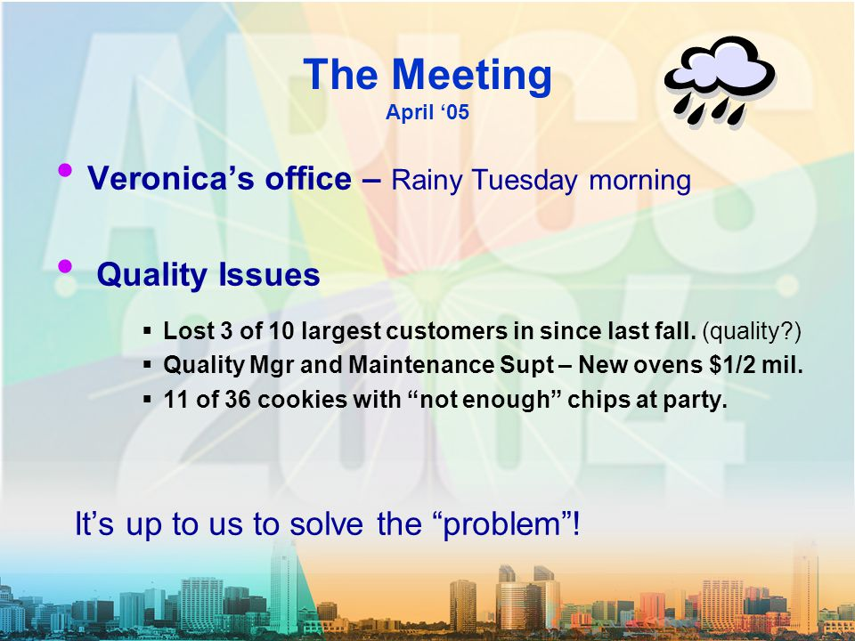 The Meeting April '05 Veronica's office – Rainy Tuesday morning Quality Issues  Lost 3 of 10 largest customers in since last fall.
