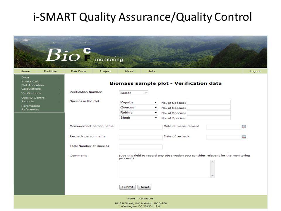 i-SMART Quality Assurance/Quality Control