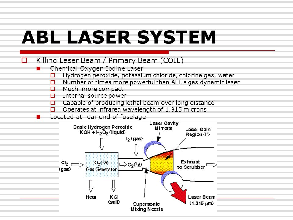 ABL LASER SYSTEM  Killing Laser Beam / Primary Beam (COIL) Chemical Oxygen Iodine Laser  Hydrogen peroxide, potassium chloride, chlorine gas, water  Number of times more powerful than ALL's gas dynamic laser  Much more compact  Internal source power  Capable of producing lethal beam over long distance  Operates at infrared wavelength of 1.315 microns Located at rear end of fuselage