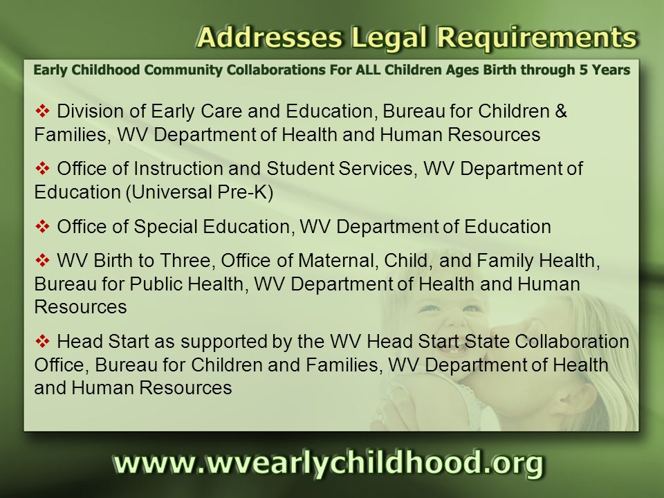 Addresses Legal Requirements  Division of Early Care and Education, Bureau for Children & Families, WV Department of Health and Human Resources  Office of Instruction and Student Services, WV Department of Education (Universal Pre-K)  Office of Special Education, WV Department of Education  WV Birth to Three, Office of Maternal, Child, and Family Health, Bureau for Public Health, WV Department of Health and Human Resources  Head Start as supported by the WV Head Start State Collaboration Office, Bureau for Children and Families, WV Department of Health and Human Resources