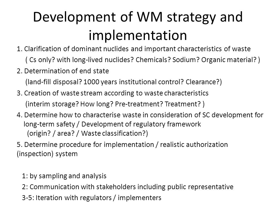 Development of WM strategy and implementation 1.