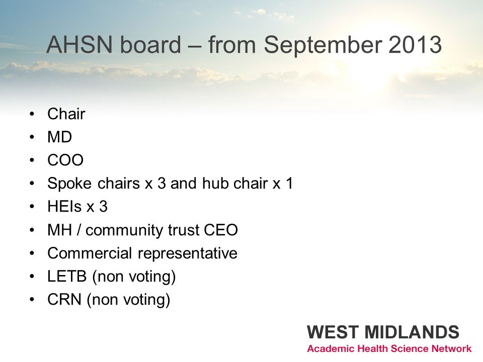 AHSN board – from September 2013 Chair MD COO Spoke chairs x 3 and hub chair x 1 HEIs x 3 MH / community trust CEO Commercial representative LETB (non