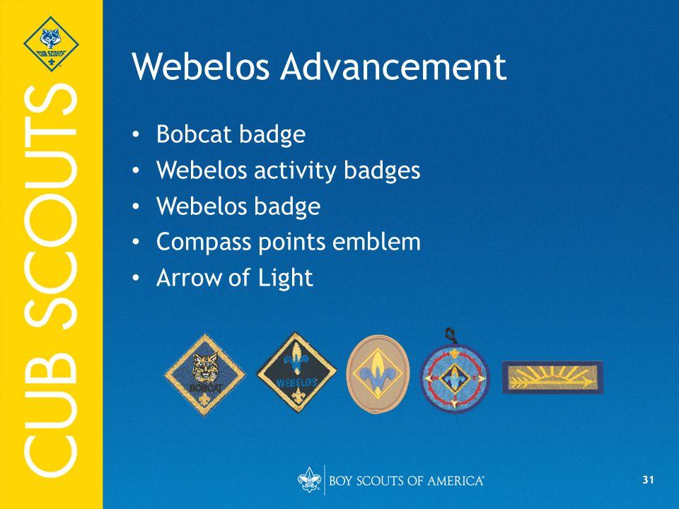 31 Webelos Advancement Bobcat badge Webelos activity badges Webelos badge Compass points emblem Arrow of Light