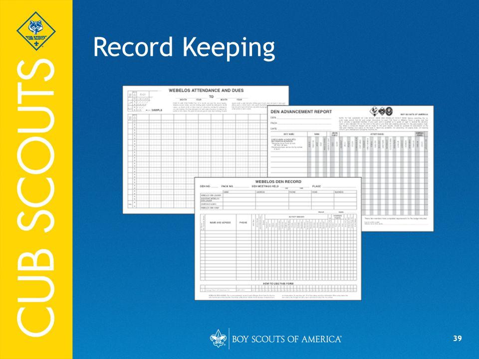 39 Record Keeping