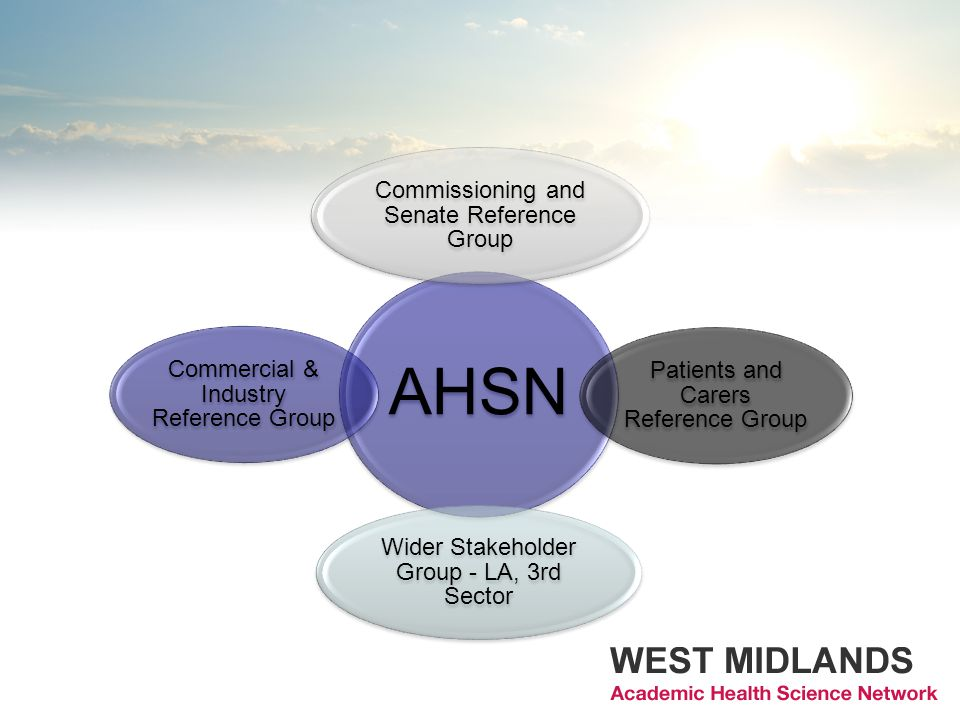 AHSN Commissioning and Senate Reference Group Patients and Carers Reference Group Wider Stakeholder Group - LA, 3rd Sector Commercial & Industry Refer