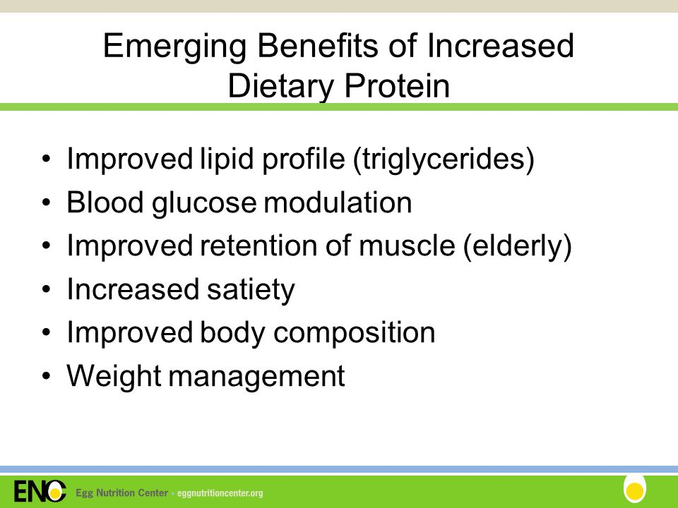 Emerging Benefits of Increased Dietary Protein Improved lipid profile (triglycerides) Blood glucose modulation Improved retention of muscle (elderly) Increased satiety Improved body composition Weight management