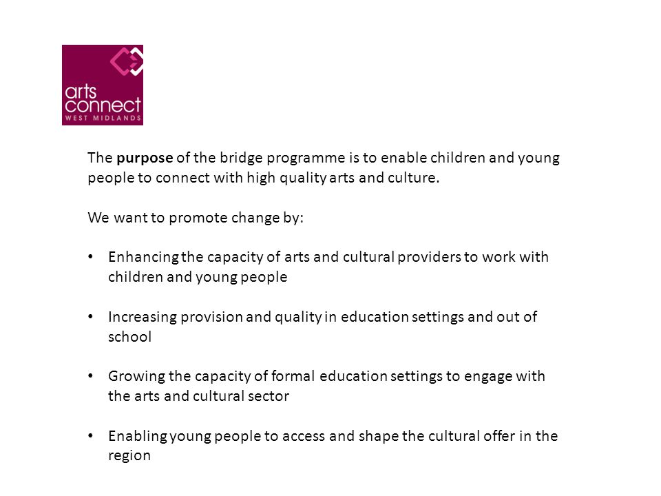 We focus on six areas of work in our bridge work: Championing Cultural Education Supporting Partnerships Promoting successful engagement with Artsmark and Arts Award Increasing the level of resources for arts and cultural activity Providing advice, information and targeted professional development Developing leadership capacity