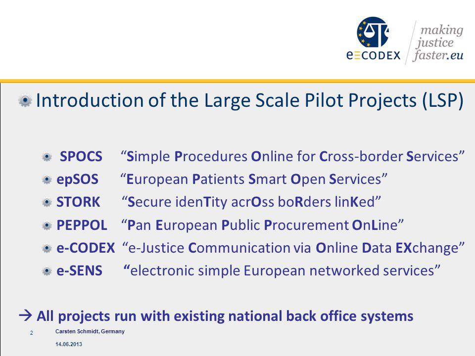 "Introduction of the Large Scale Pilot Projects (LSP) SPOCS ""Simple Procedures Online for Cross-border Services"" epSOS ""European Patients Smart Open Se"
