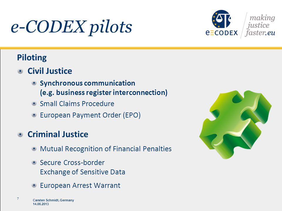 14.06.2013 Carsten Schmidt, Germany 7 e-CODEX pilots Piloting Civil Justice Synchronous communication (e.g. business register interconnection) Small C