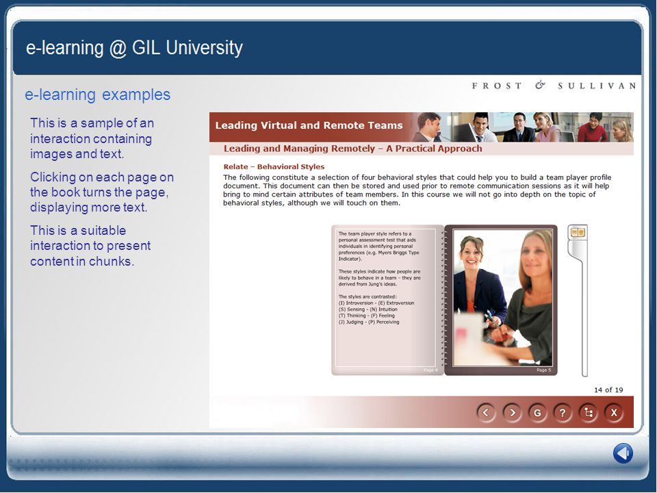 e-learning examples This is a sample of an interaction containing images and text.