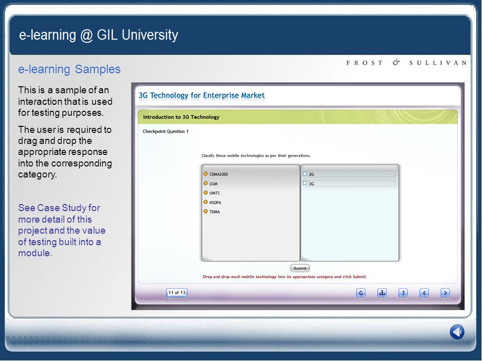 e-learning Samples This is a sample of an interaction that is used for testing purposes.