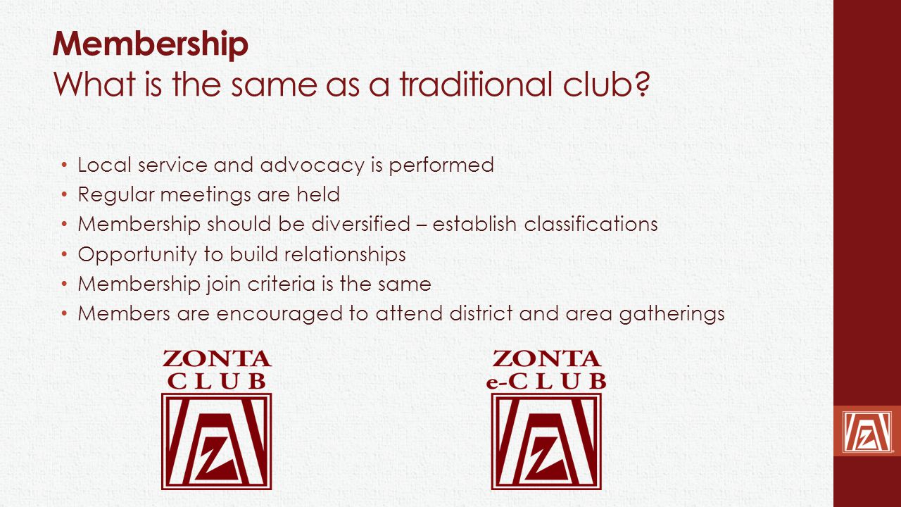 Membership What is the same as a traditional club? Local service and advocacy is performed Regular meetings are held Membership should be diversified