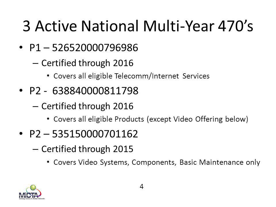 3 Active National Multi-Year 470's P1 – 526520000796986 – Certified through 2016 Covers all eligible Telecomm/Internet Services P2 - 638840000811798 – Certified through 2016 Covers all eligible Products (except Video Offering below) P2 – 535150000701162 – Certified through 2015 Covers Video Systems, Components, Basic Maintenance only 4