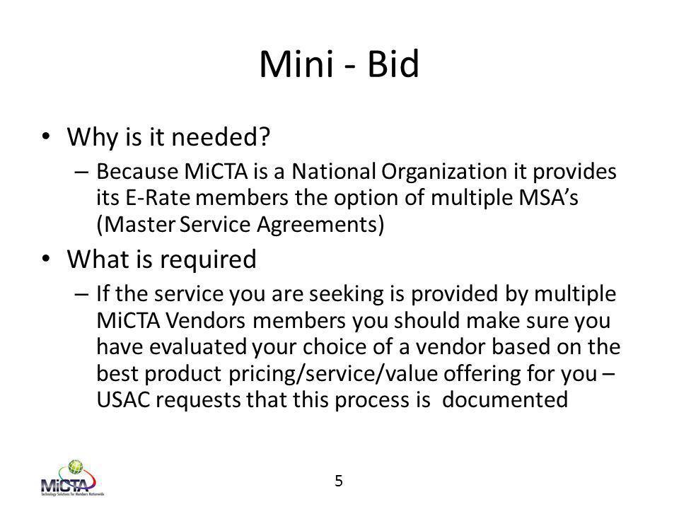 Mini - Bid Why is it needed.