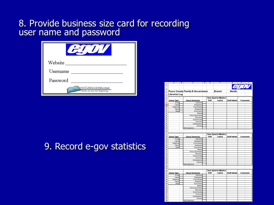 8. Provide business size card for recording user name and password 9. Record e-gov statistics