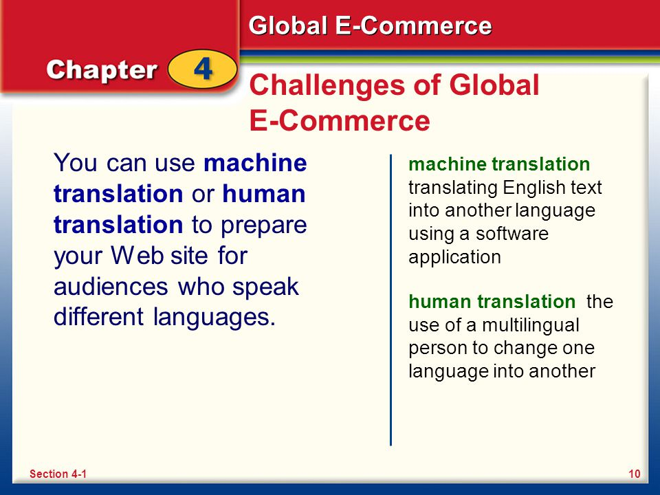 Global E-Commerce Challenges of Global E-Commerce You can use machine translation or human translation to prepare your Web site for audiences who spea