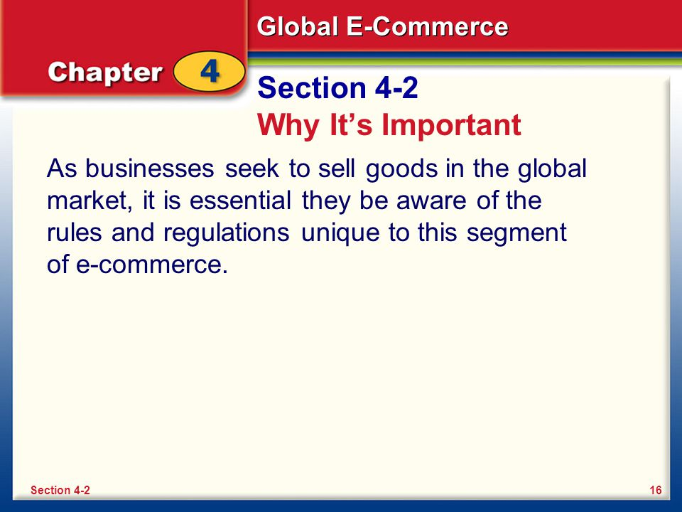 Global E-Commerce Section 4-2 Why It's Important As businesses seek to sell goods in the global market, it is essential they be aware of the rules and