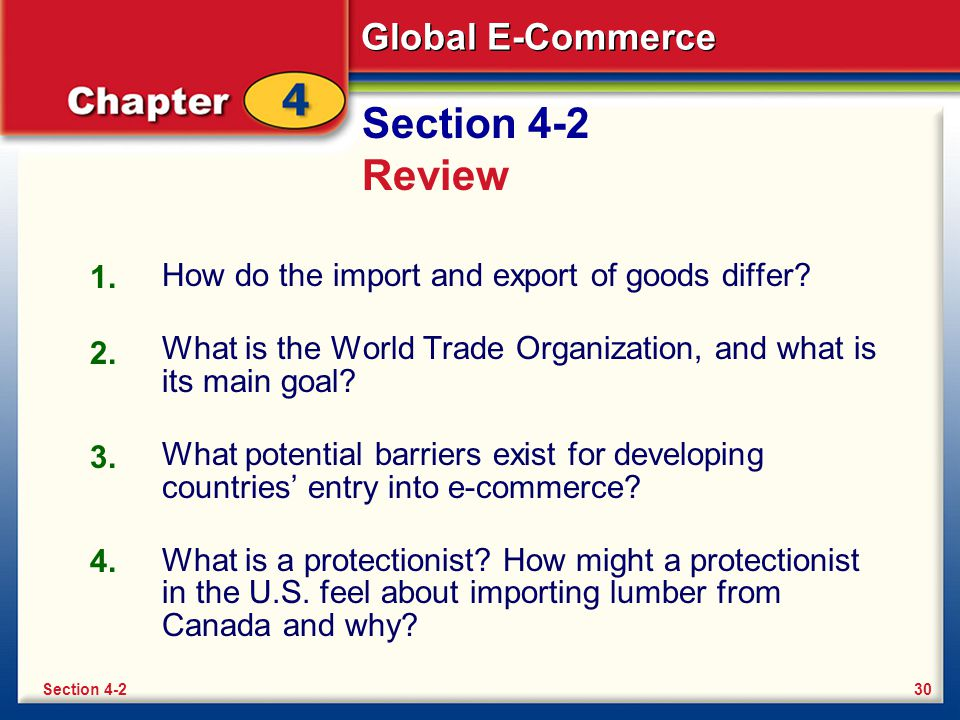 Global E-Commerce Section 4-2 Review How do the import and export of goods differ? What is the World Trade Organization, and what is its main goal? Wh