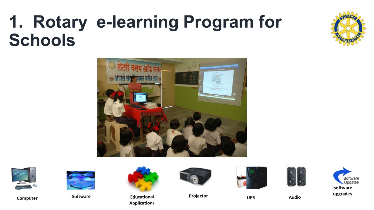 1. Rotary e-learning Program for Schools Projector Audio UPS Educational Applications software upgrades Software Computer