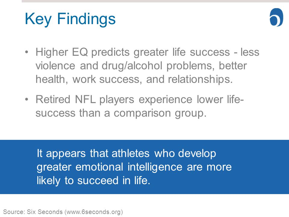 Key Findings Higher EQ predicts greater life success - less violence and drug/alcohol problems, better health, work success, and relationships.