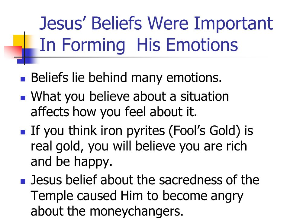 Jesus' Emotions – Our Emotions The way Jesus formed and expressed His emotions shows us how we should form and express our emotions: 1. Perceive life
