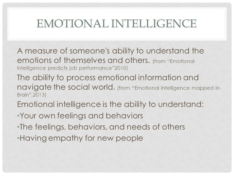 "EMOTIONAL INTELLIGENCE A measure of someone's ability to understand the emotions of themselves and others. (from ""Emotional intelligence predicts job"