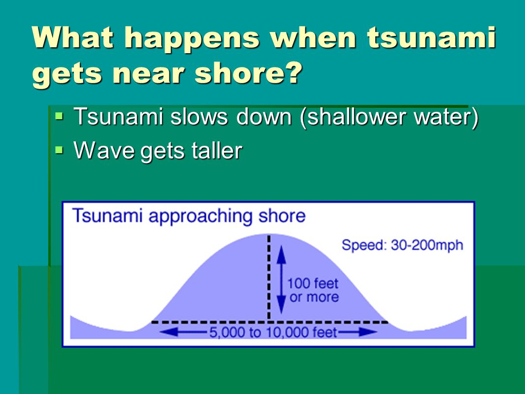 What happens when tsunami gets near shore?  Tsunami slows down (shallower water)  Wave gets taller