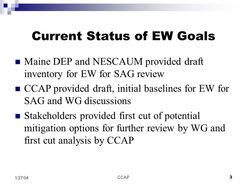 CCAP3 1/27/04 Current Status of EW Goals Maine DEP and NESCAUM provided draft inventory for EW for SAG review CCAP provided draft, initial baselines f
