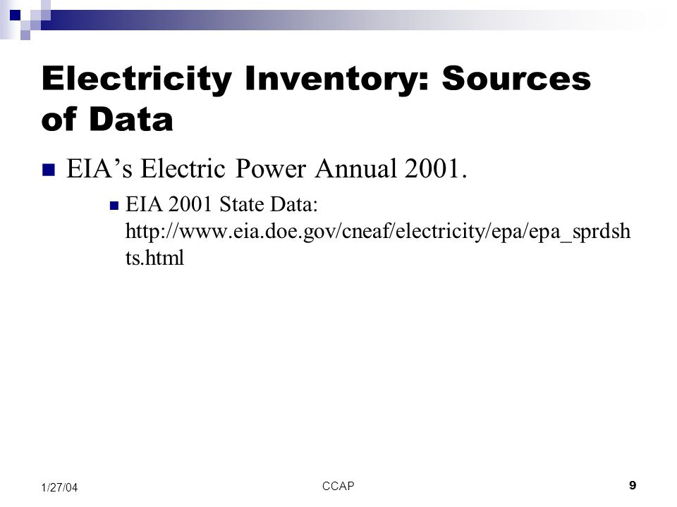CCAP40 1/27/04 Electricity and Waste Sector Options See EW Assumptions document