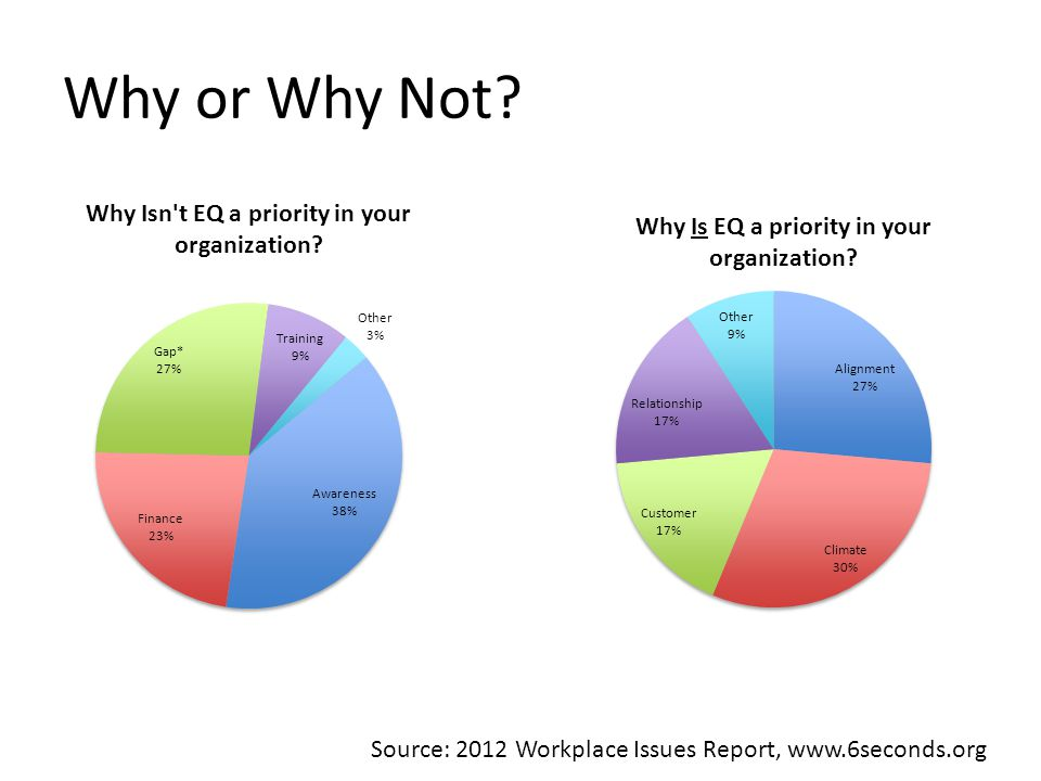 Why or Why Not Source: 2012 Workplace Issues Report, www.6seconds.org