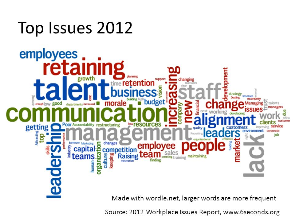 Top Issues 2012 Made with wordle.net, larger words are more frequent Source: 2012 Workplace Issues Report, www.6seconds.org