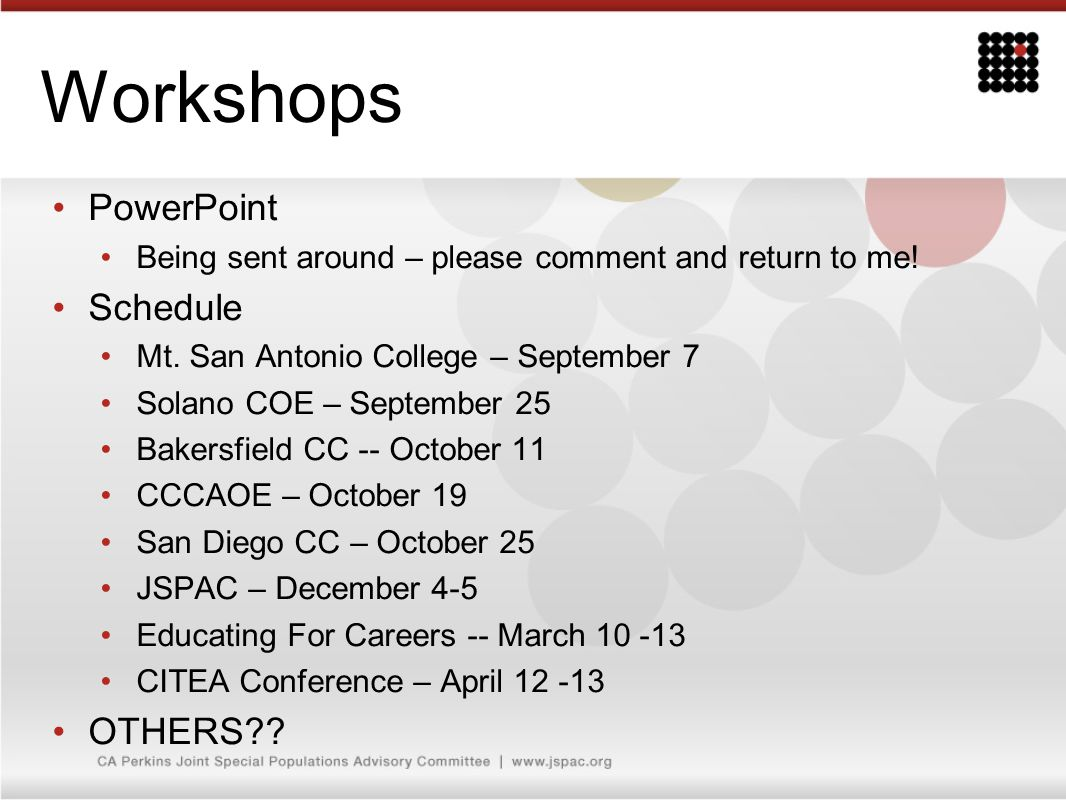 Workshops PowerPoint Being sent around – please comment and return to me! Schedule Mt. San Antonio College – September 7 Solano COE – September 25 Bak