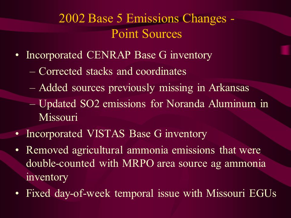 2002 Base 5 Emissions Changes - Point Sources Incorporated CENRAP Base G inventory –Corrected stacks and coordinates –Added sources previously missing in Arkansas –Updated SO2 emissions for Noranda Aluminum in Missouri Incorporated VISTAS Base G inventory Removed agricultural ammonia emissions that were double-counted with MRPO area source ag ammonia inventory Fixed day-of-week temporal issue with Missouri EGUs