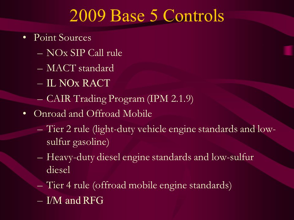 2009 Base 5 Controls Point Sources –NOx SIP Call rule –MACT standard –IL NOx RACT –CAIR Trading Program (IPM 2.1.9) Onroad and Offroad Mobile –Tier 2 rule (light-duty vehicle engine standards and low- sulfur gasoline) –Heavy-duty diesel engine standards and low-sulfur diesel –Tier 4 rule (offroad mobile engine standards) –I/M and RFG